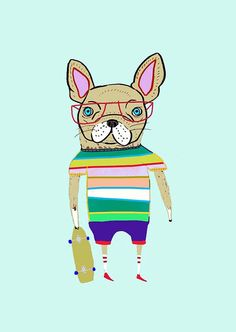 French Bulldog Skateboarder. Nursery Art Kids by AshleyPercival