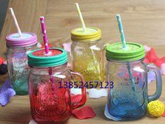 夏日渐变色可乐杯 带手柄玻璃杯 美式英文字母带盖吸管梅森瓶
