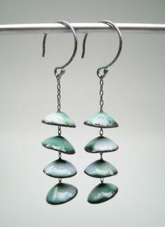 Aran Galligan earings Enamel, Copper, Sterling Silver, They could even work upside down, like rain chains. Ceramic Jewelry, Enamel Jewelry, Clay Jewelry, Metal Jewelry, Jewelry Crafts, Jewelry Art, Beaded Jewelry, Jewelry Design, Jewlery
