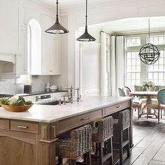 Calcutta Marble Top Island with Wicker Counter Stools, Transitional, Kitchen