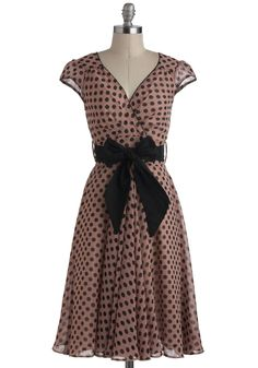 Have the Dance Floor Dress in Mauve Dots. The second you step onto the parquet in this retro dress of mauve delicately dotted with black, it's clear you have the attention of everyone in the room! #pink #modcloth