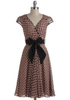 Have the Dance Floor Dress - Pink, Black, Polka Dots, Belted, Party, Vintage Inspired, A-line, Cap Sleeves, V Neck, 50s, Long