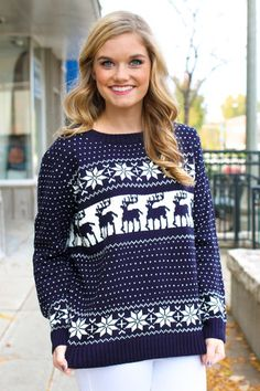 Navy Nordic Sweater | UOIOnline.com: Women's Clothing Boutique