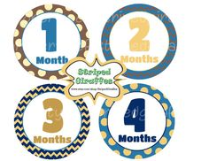 Chevron Monthly Onesie Stickers Print at Home Baby Boy Girl Baby Shower Photo Printable Digital