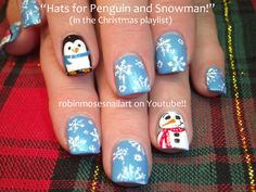 Blue Snowflakes and Penguin