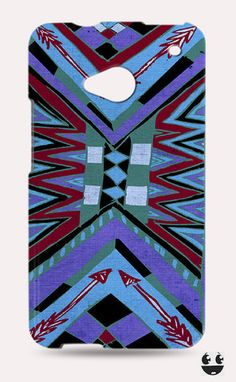HTC One Phone Case, HTC One Case Abstract Blue Aztec
