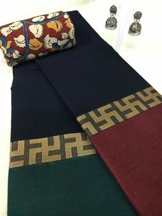 Plain Black cotton Saree with pront and block border with colourful contrast blouse material.