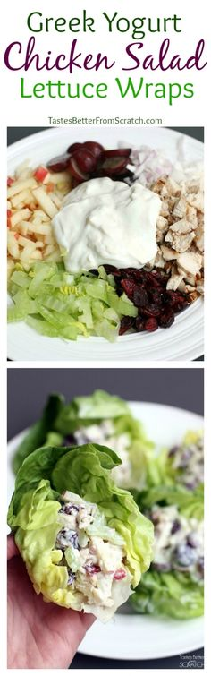 Make sure mayo is gf. Greek Yogurt Chicken Salad Lettuce Wraps from TastesBetterFromScratch.com