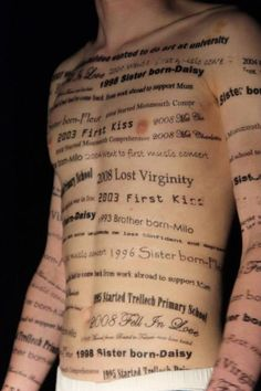 Draw paint project onto skin. Words symbolising memories or thoughts that shape who we are.