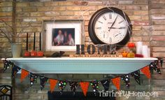 Halloween mantel and easy, inexpensive Halloween decorations.