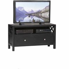 Linon Home Decor Anna Collection Antique Black Media Center for TVs up to 44 inch