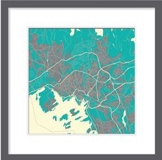 Print, canvas x - Oslo in Northern lights colours
