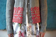 Spruce Cardigan colour work detail by Ella Austin at Loop London