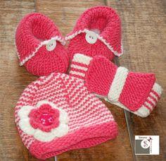 Babyset •Mütze, Stirnband, Bababallerinas• aus 100% Babymerino Wolle