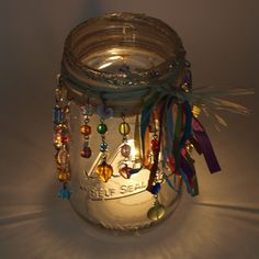 Beautiful Bohemian Mason Jar Luminary Beaded Candle Holder…wonderful way to use up some of beads I have hoarded up for years. Mason Jar Candle Holders, Mason Jar Gifts, Mason Jar Candles, Soy Candle, Jar Crafts, Bottle Crafts, Bottles And Jars, Glass Jars, Hippie Crafts