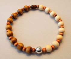 Men's Burly & Natural Wood Cross Stretch Bracelet by SoFineDesigns on Etsy