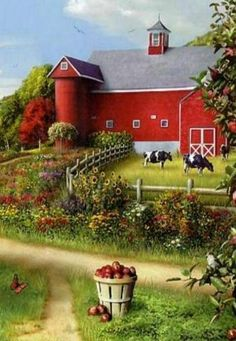 Big Red Barn Farm - Paint by Number Kit. by OurPaintAddictions Big Red Barn, Country Barns, Country Living, Country Roads, Farm Art, Paint By Number Kits, Art Pictures, Photos, Country Scenes