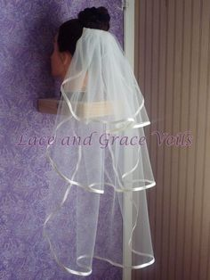 #danishandmadewedding Three Layer Trimmed  Communion Veil 12x20x28 by LaceandGraceVeils