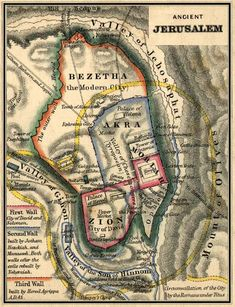 """Ancient Jerusalem Map located by the Valley of Gihon. Take note: the old African map before slavery shows a """"Gihon river"""". Old Maps, Antique Maps, Vintage Maps, Jerusalem Map, Bible Mapping, African Map, Religion, Bible Knowledge, Free Bible"""