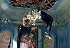 He's levitating....
