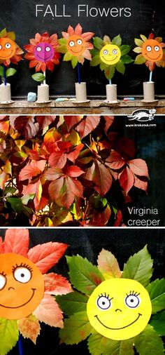Süße HERBSTBLUMEN Basteln Sie mit Blättern und Papierrollen  tolles Basteln für Kinder!