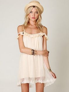 #freepeople picture show slip in seashell, $84.50...just bought this dress in Portland and wear it with lace shorts peeking through the chiffon at the bottom.