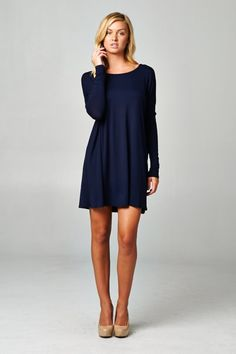 Navy Fall Dress. Long Sleeves. Perfect alone or with leggings.