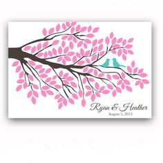 Wedding Guest Book Poster Guest Book Alternative Tree Branch Guest Book Tree for 125 Guests Bird Print Pink Wedding Guest Book Poster. $54.00, via Etsy.