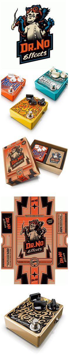 Dr. No Vintage Guitar Effects. #packaging #design #typography #logo #illustration