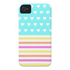 Girly Pastel Hearts Striped iPhone 4/4S Case by OrganicSaturation #iphone #iphonecase #iphone4 #love #hearts #girly #stripes #pastels #pattern #iphonecover