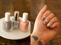 half moon manicure with silver + pink