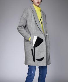 Love this Gray Flower-Accent Coat on #zulily! #zulilyfinds