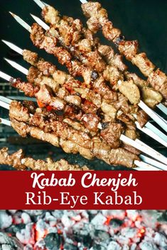 Kabab Chenjeh is my favourite Persian Kabab! Traditionally it is made of lamb but in this version I'm using rib-eye beef steak. It has a larger amount of fat which ensures the kabab turn out nice and tender without adding yogurt to the marinade. Skewer Recipes, Steak Recipes, Cooking Recipes, Bbq Skewers, Kebabs, Indian Dessert Recipes, Ribs On Grill, Eastern Cuisine, Food Concept
