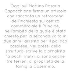 Oggi sul Mattino Rosaria Capacchione firma un articolo che racconta...