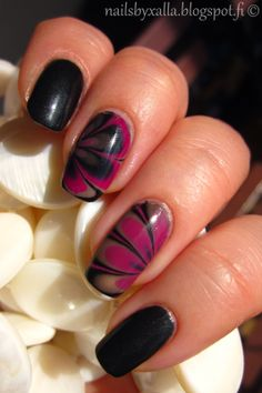 Water marble with black, pink and nude
