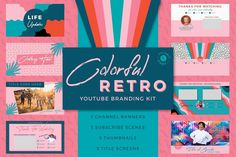 This colorful retro Youtube branding kit is inspired by 80s/90s retro designs. It's perfect for adding a unique personality to your youtube channel and videos! The designs are all editable in photoshop and you are able to customize your channel name, social media icons/usernames, and photos. $20 #sponsored #ad