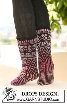 "DROPS 126-4 - DROPS socks with pattern in ""Delight"" and ""Fabel"". - Free pattern by DROPS Design"