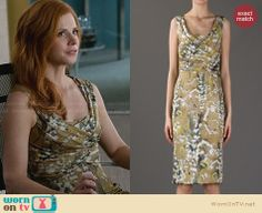 Donna's yellow floral dress on Suits. Outfit Details: http://wornontv.net/28230 #Suits #fashion
