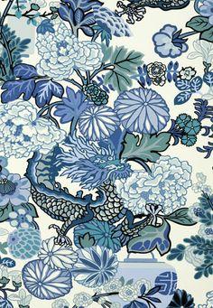 FSchumacher Wallpaper 5001062 Chiang Mai Dragon China Blue
