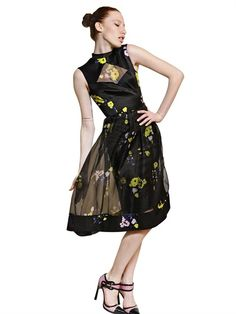 ERDEM - FLOWER PRINT SILK SATIN & ORGANZA DRESS - LUISAVIAROMA - LUXURY SHOPPING WORLDWIDE SHIPPING - FLORENCE