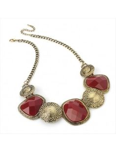 BURNT GOLD RED BEAD LADIES FASHION NECKLACE - Chunky Necklaces - Necklaces - Jewellery