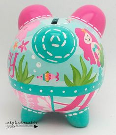 Mermaid Ocean Personalized Piggy bank in Hot Pink and Turquoise Personalized Piggy Bank, Personalized Gifts, The Little Couple, Piggy Banks, Sarah Kay, Baby Coming, Porcelain Ceramics, Custom Items, Erika