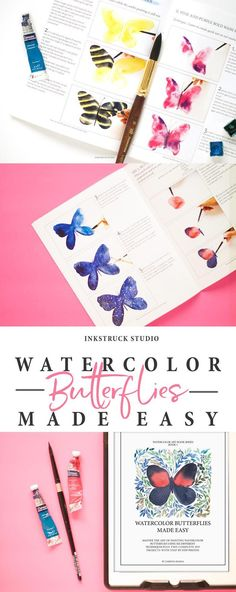 Do you love watercolors and want to learn all about it? This comprehensive book to paint watercolor butterflies has it all covered. Learn more by clicking the link - Inkstruck Studio Butterfly Watercolor, Easy Watercolor, Watercolour Tutorials, Watercolor Techniques, Art Techniques, Watercolor Paintings, Watercolors, Design Tutorials, Art Tutorials