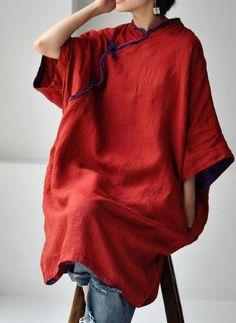 Linen midi dress for women, linen dress with pockets, large size robe, Oversize dresses, kaftan Oversized Dress, Red Midi Dress, Large Size Dresses, Summer Dresses For Women, High Collar, Kaftan, Etsy, Women's Fashion, Color Red