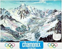1980s Chamonix Piste Map Ski Poster