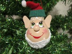 Elf Light Bulb Christmas Ornament Christmas Light Bulbs, Christmas Ornaments To Make, Handmade Christmas, Christmas Crafts, Christmas Decorations, Light Bulb Art, Light Bulb Crafts, Painted Light Bulbs, Ornament Crafts