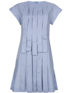 Blue cotton dress from Fendi featuring a round neck, short sleeves, a pleated design, panelled ribbons with fold detail to the front, a rear button closure, a concealed zip fastening to the back and rear central pleat.