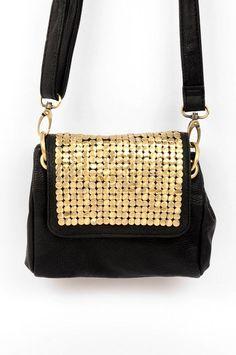 DIY purse with gold tacks