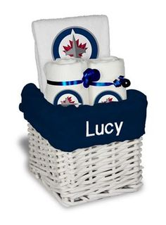Our officially licensed personalized winnipeg jets bib and burp our personalized winnipeg jets small gift basket is a perfect hockey baby gift with 2 burp negle Image collections