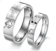 Fashion Stainless Titanium Steel Forever love silver with crystal couple rings